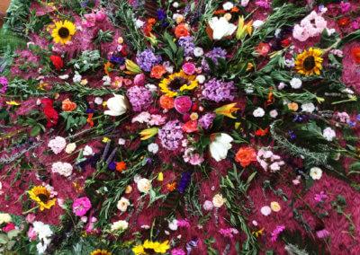 Cercle de fleur salle de pratique